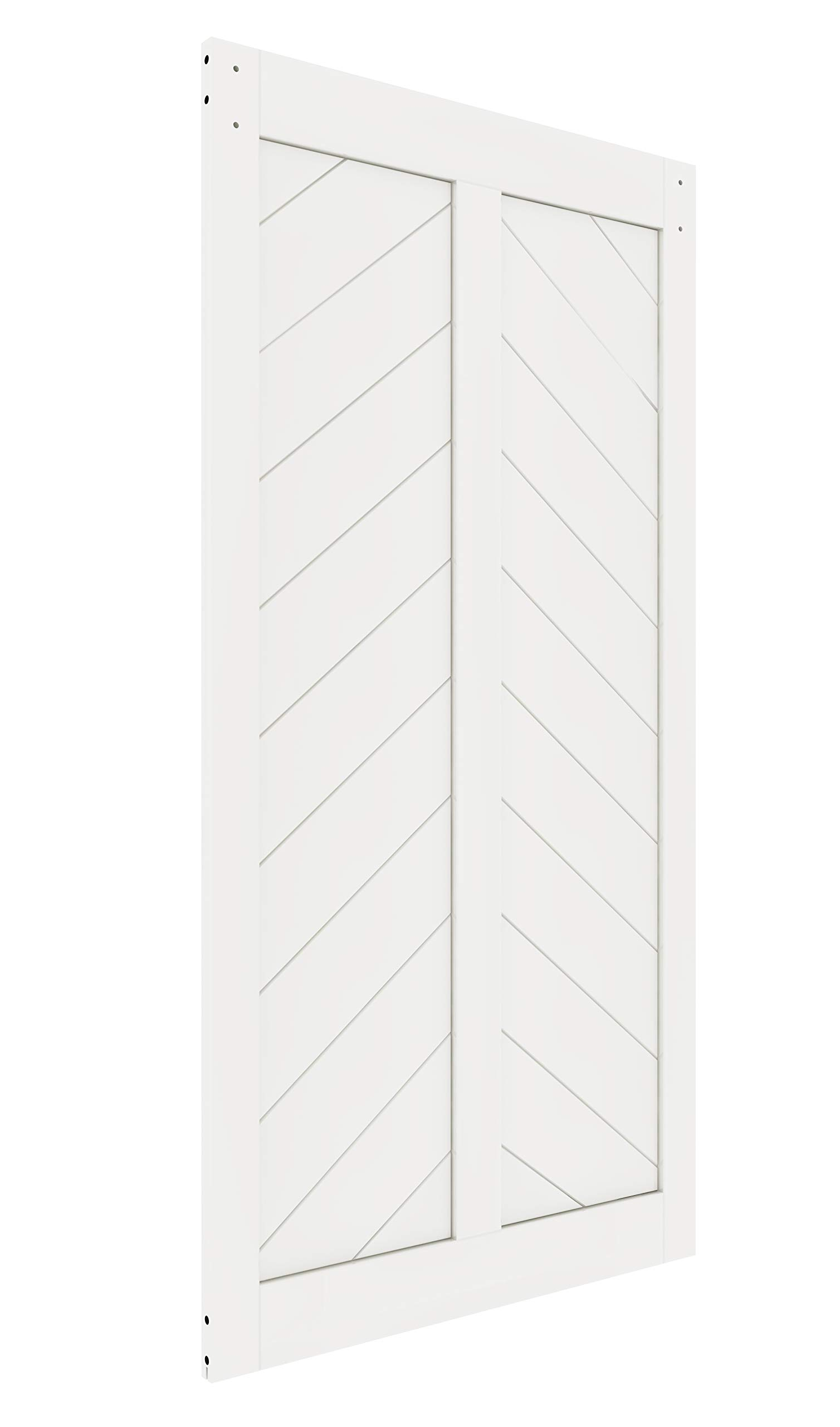 DIYHD 42X84in Fish Bone V Shape Sliding Barn Slab MDF Solid Core Primed Interior Door Panel(Disassembled), White-42X84'' White by DIYHD (Image #2)