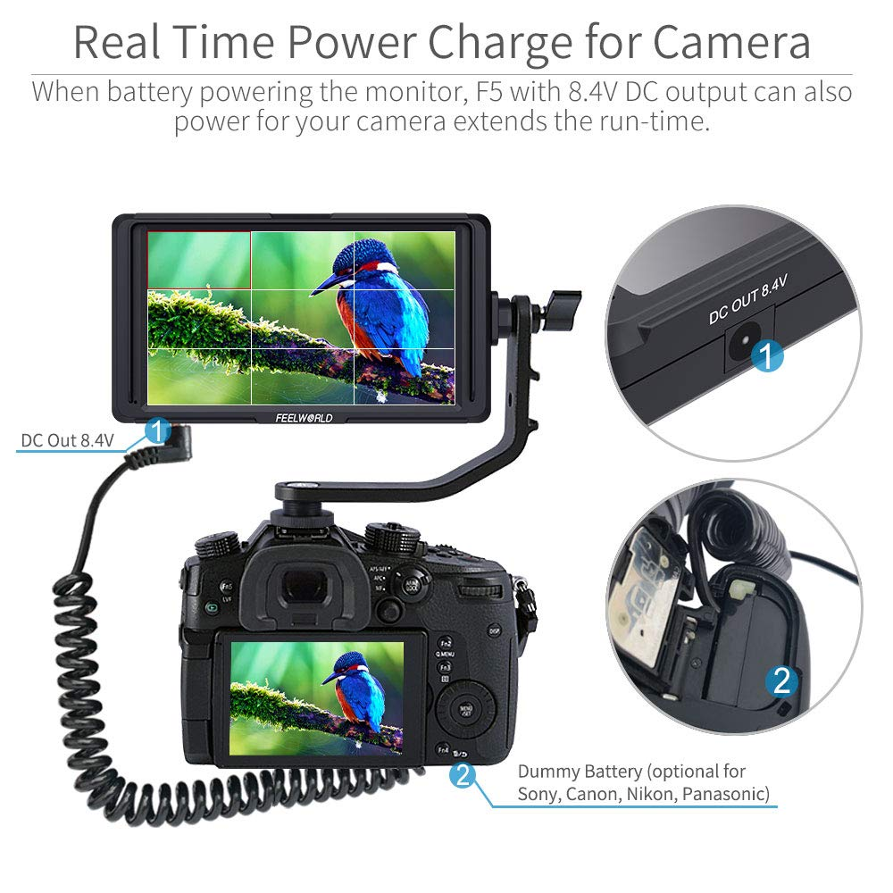 FEELWORLD F5 5 Inch DSLR On Camera Field Monitor Small Full HD 1920x1080 IPS Video Peaking Focus Assist with 4K HDMI 8.4V DC Input Output Include Tilt Arm by FEELWORLD (Image #5)