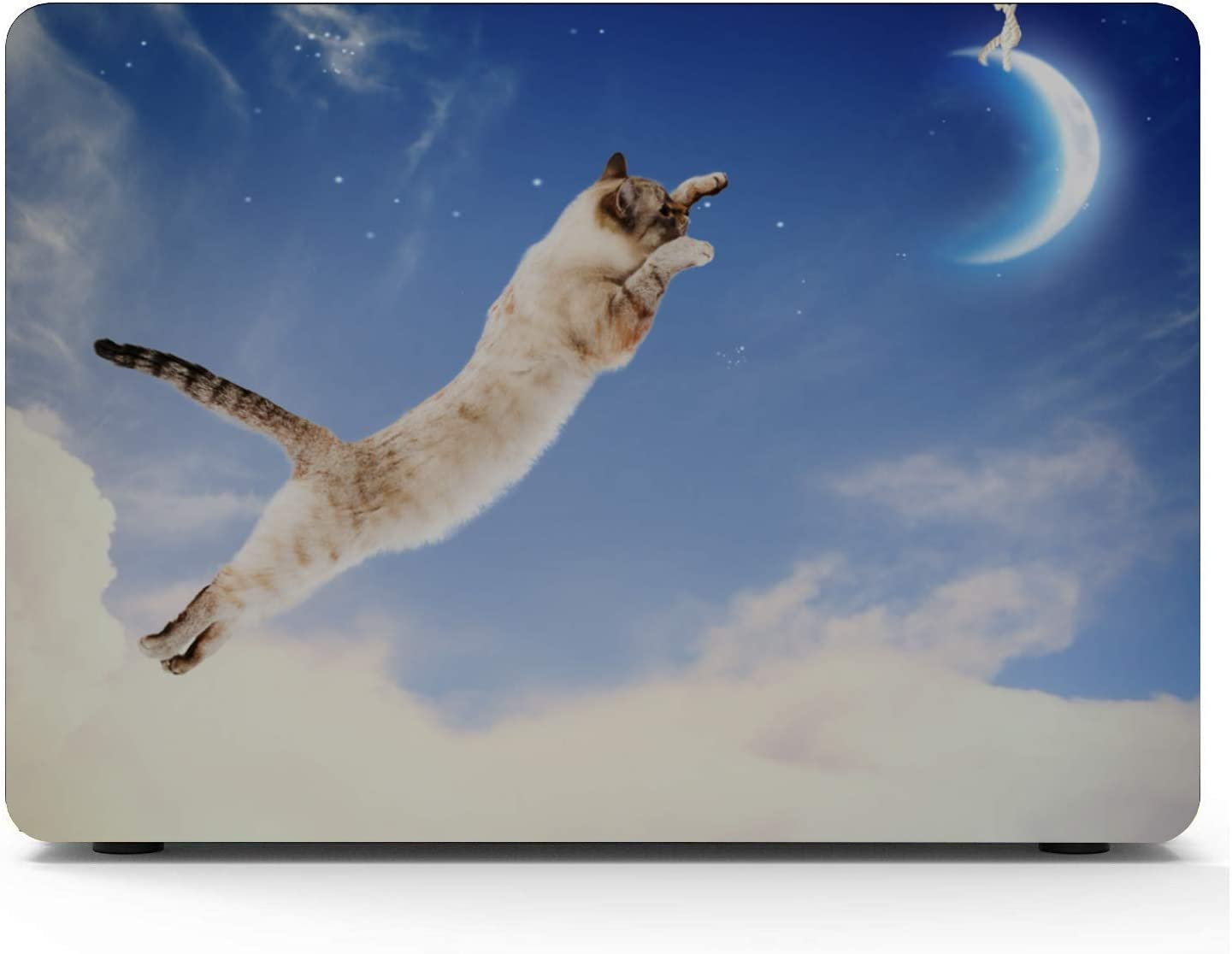 MacBook Air Case 2018 Cat Love Moon Cartoon Plastic Hard Shell Compatible Mac Air 11 Pro 13 15 Mac Air Laptop Case Protection for MacBook 2016-2019 Version