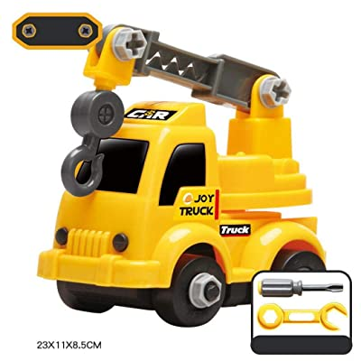 Langle Children Plastic Yellow Mini Excavator Assembled Engineering Car Toy Play Vehicles: Home & Kitchen
