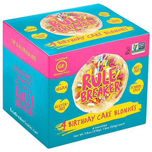 Rule Breaker Snacks, Birthday Cake, Healthy and Unbelievably Delicious, Vegan, Gluten Free, Nut Free, Allergen Friendly, Kosher (4ct pack)