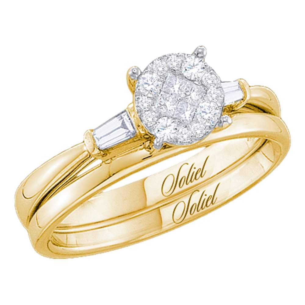 14kt Yellow Gold Womens Princess Diamond Soleil Bridal Wedding Engagement Ring Band Set 1/4 Cttw (I1-I2 clarity; H-I color)