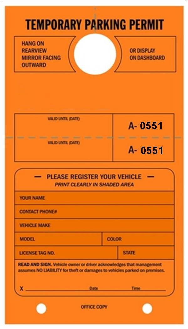 Temporary Parking Permit - Mirror Hang Tags, Numbered with Tear-Off Stub, 7-3/4'' x 4-1/4'', Bright Fluorescent Orange - Pack of 50 Tags (0551-0600)