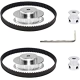 Befenybay 2Kit 2GT Synchronous Wheel 20&60 Teeth 5mm Bore Aluminum Timing Pulley with 2pcs Length 200mm Width 6mm Belt…
