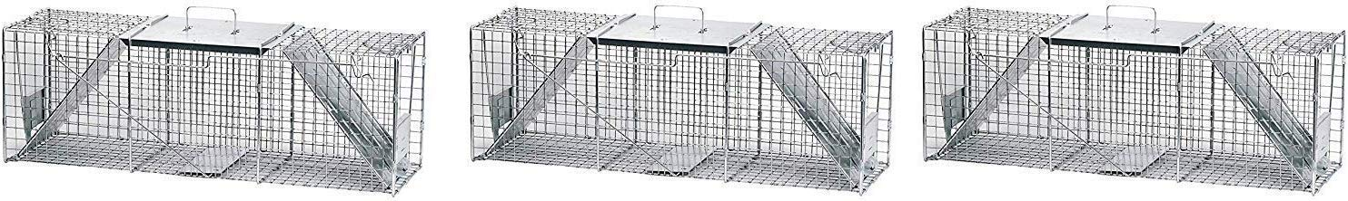 Havahart 1045 Live Animal Two-Door Raccoon, Stray Cat, Opossum, and Groundhog Cage Trap (Pack of 3) by Havahart