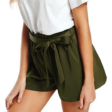 169ee9da22 Sumen Women Summer Floral Print Shorts High Waist Belted Pants (S, Army  Green)
