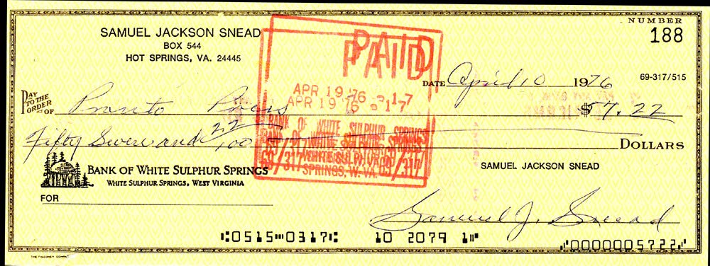 Sam Snead Autographed Signed Auto 3x8.5 Check #188 Certified Authentic