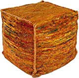 Surya BZPF-003 60-Percent Chocho and 40-Percent Cotton Pouf, 18-Inch by 18-Inch by 18-Inch, Burnt Orange/Cherry/Lemon/Emerald/Kelly Green