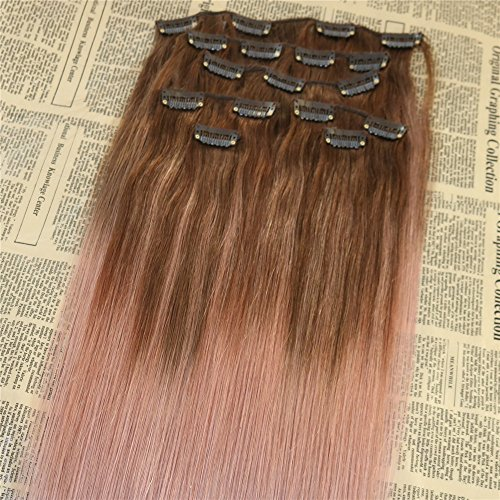 24 120g 7pcs Clip In Extensions Remy Human Hair Rose