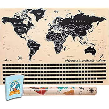 Amazon landmass scratch off world map poster original travel scratch off map by tirotechs new scratch off world map best scratch off map of the world free ebook world map scratch off travel map tan gumiabroncs Gallery