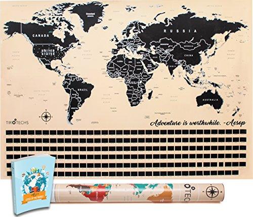 Tan Map (Scratch Off Map By TIROTECHS - NEW Scratch Off World Map -Best Scratch Off Map Of The World - FREE  EBOOK - World Map Scratch Off Travel Map! (Tan))