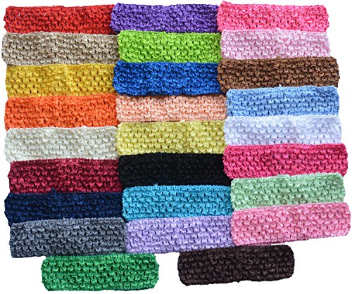 Qandsweet Baby Girl's Stretch Headbands Crochet Hair Bands (26pack) (26 Colors)