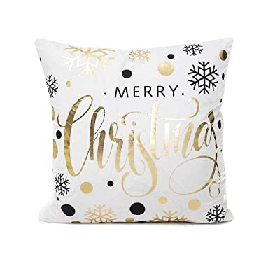 Monkeysell Merry Christmas Snowflakes Throw Pillow Cover Decorative Design Zippered Flannel Cotton Cushion Cover Sofa Home Pillowcases 18x18 Inch