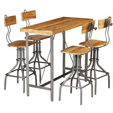 ROMELAREU Set Mesa y sillas de Bar Madera Teca Maciza ...