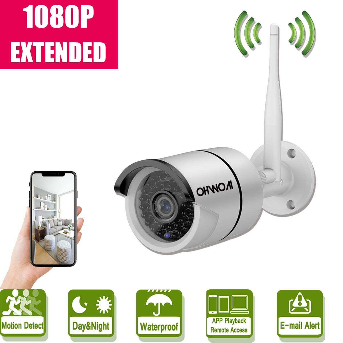 Wireless Security Camera Extend,1080P Full HD Home Surveillance IR LED Camera Extend for OHWOAI WiFi Kit,Indoors&Outdoors IP Camera with Weatherproof/Night Vision,Work for OHWOAI.