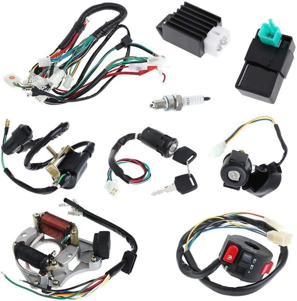 Kit completo de cableado CDI de bobina de electricidad, motor de arranque de arranque de bobina CDI para motocicletas de 50 cc, 70 cc, 90 cc, 110 cc, 125 cc, quad, bicicletas, kart, etc.