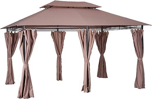 Outsunny - Carpa para jardín (4 x 3 m, con paredes laterales, 12 piquetas, acero), color marrón: Amazon.es: Jardín