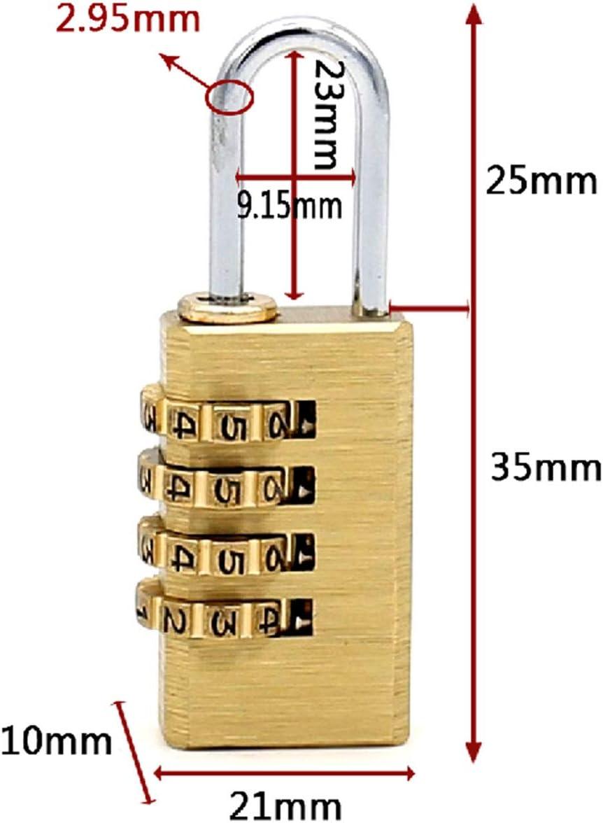 Massives Messing 2-tlg-Kombinationsschloss 4-stelliges Kupfer-Vorh/ängeschloss f/ür rostfreien Druckguss Innen und Au/ßen /Stellen Sie Ihr eigenes Kombinationsschloss 21 mm breit mit 1 Zoll langer