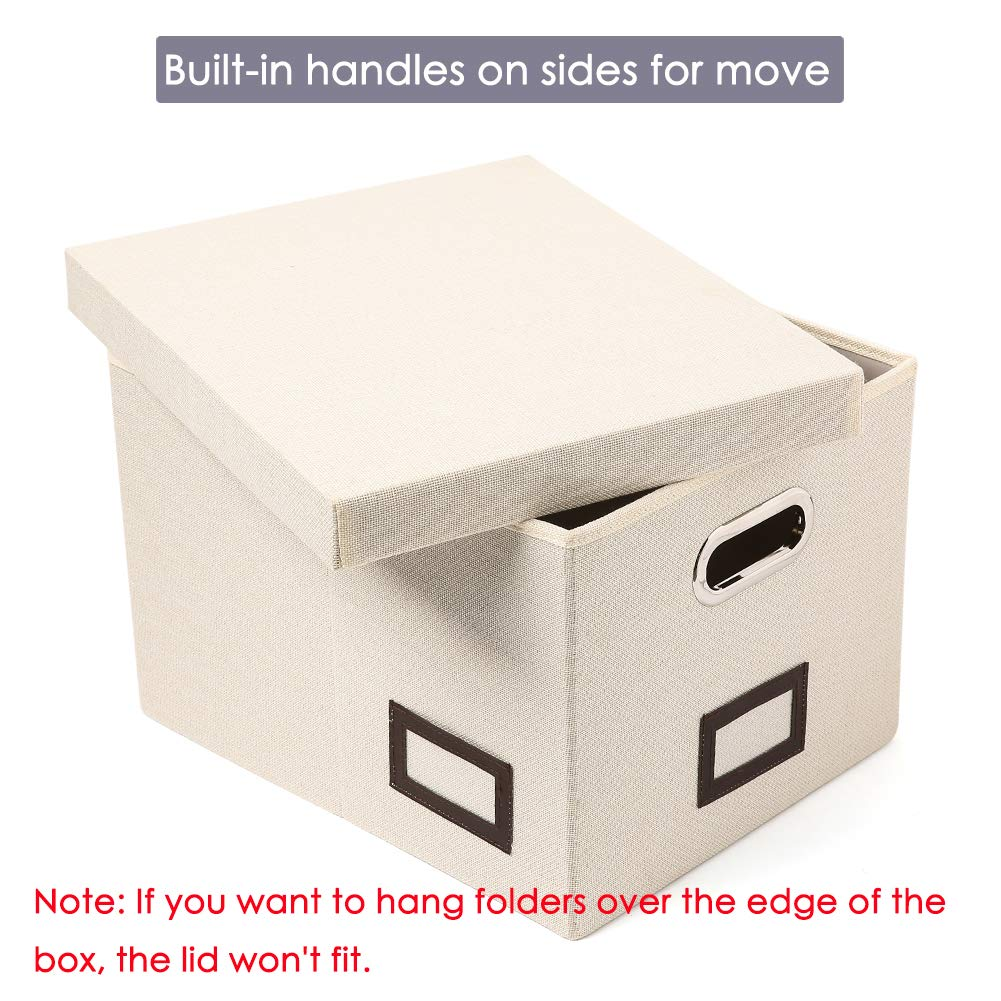 Pack of 2 Storage Office Box Organizer with Durable MDF Board Cream SUPERJARE Collapsible File Box Linen Fabric /& Removable Lid for Letter//Legal