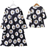 Oklady Mommy and Me Outfits Long Sleeve Sunflowers Print Dress Family Matching Clothes