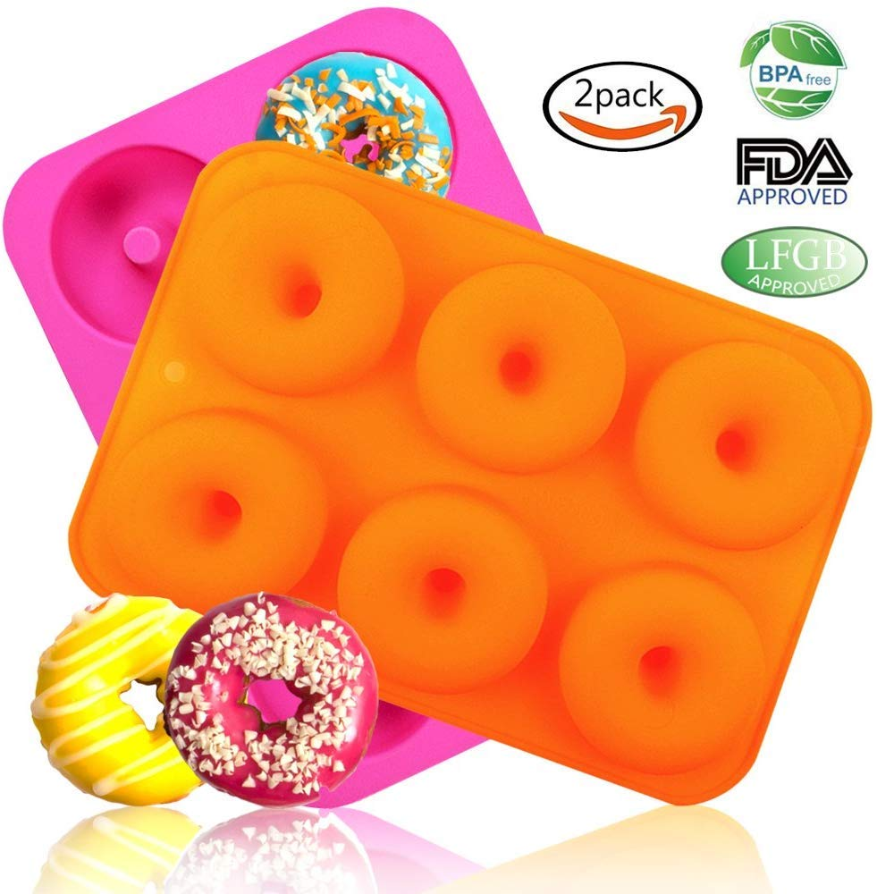 2 Piezas)Moldes de Silicona Antiadherente Moldes Para Donuts ...