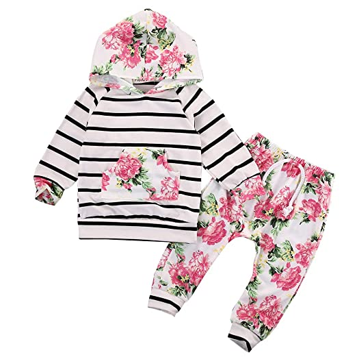 6149ea89 Baby Girls Floral Hoodie+ Floral Pant Set Leggings 2 Piece Outfits for  6M-3Y (