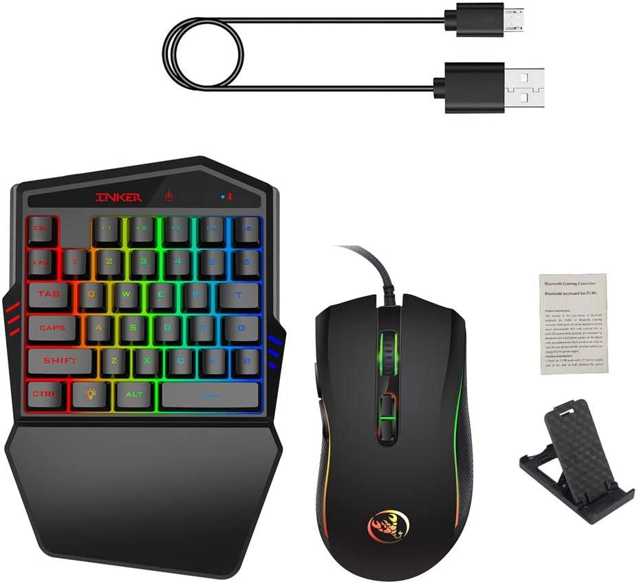 Phone Holder and USB Cable Backlit Mouse MOGOI One-Handed Keyboard Kit 35 Keys BT 4.2 Single Hand Mechanical Feeling Keyboard with Wrist Support Including RGB One-Handed Gaming Keyboard