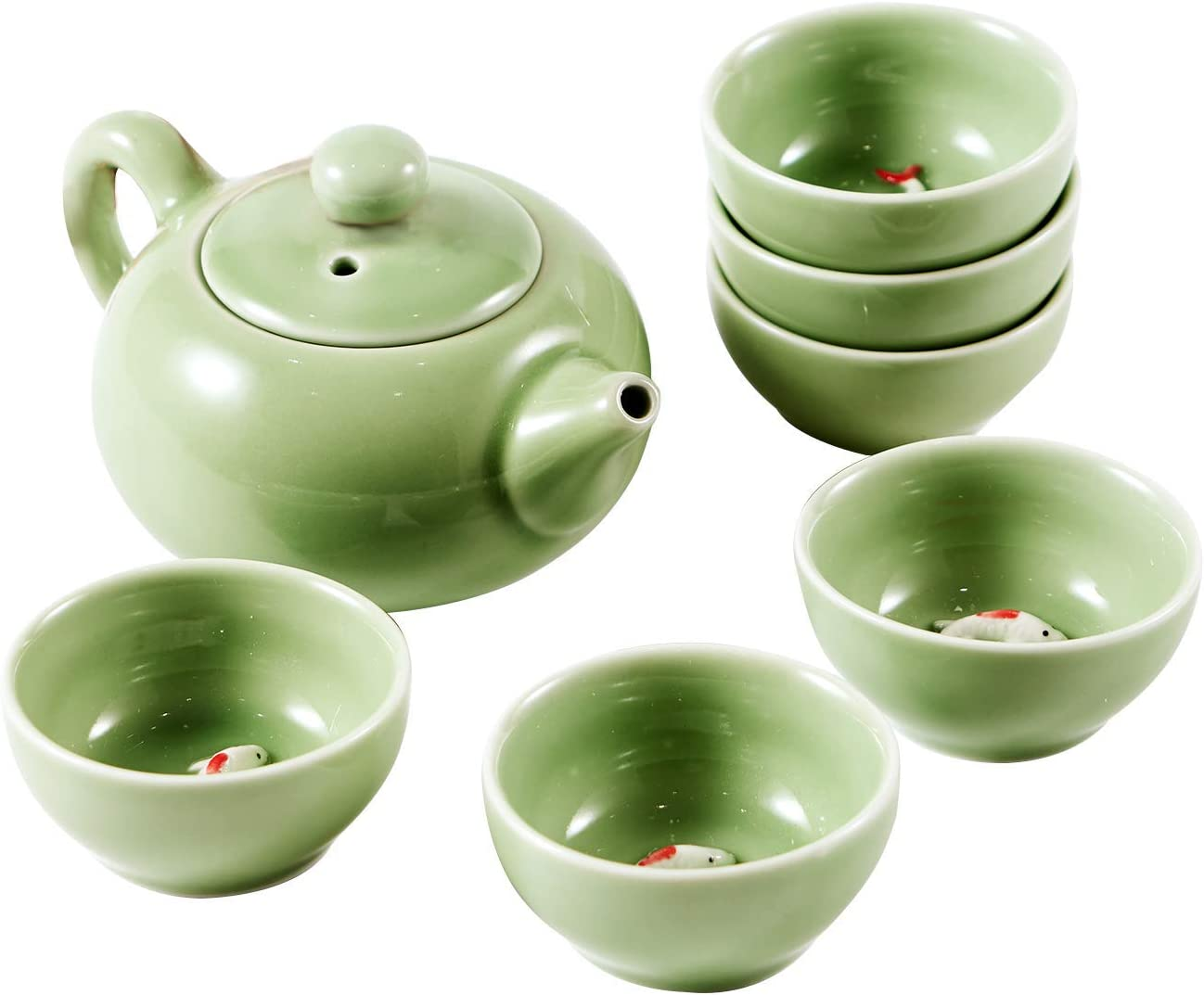 Chinese Kongfu Tea Set Ceramic Kung Fu Tea Cup Set Exquisite Oriental Porcelain Tea Ware Teapot Teacups China Tea Service Toy Tea Set for Home Office Use Gift (Green)