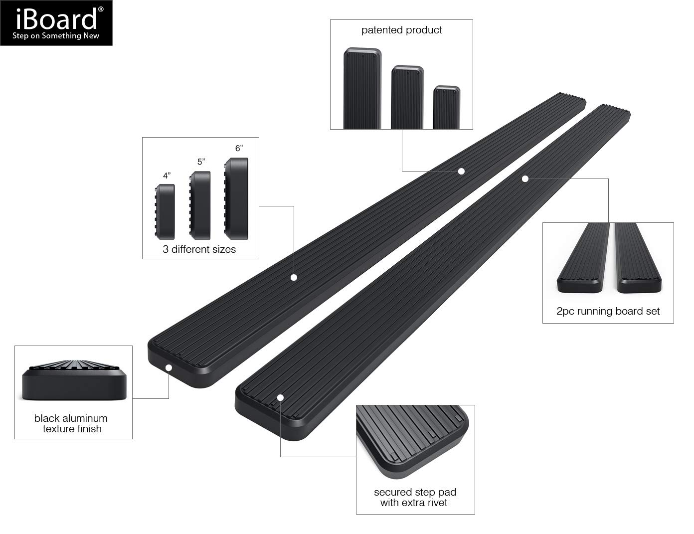 Side Steps Running Boards Step Rails For 2005-2018 Toyota Tacoma Double//Crew Cab Pickup 4-Door Nerf Bars Black Powder Coated 6 inches iBoard