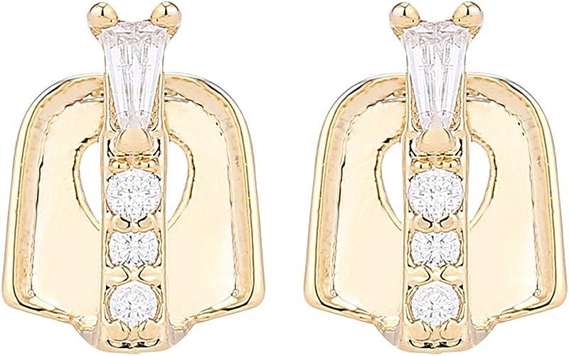 Homyl Luxury 18k Gold Plated Hip Hop Rhinestone Bar Teeth Gap fit Fangs Caps Top or Bottom Grill Rapper Costume
