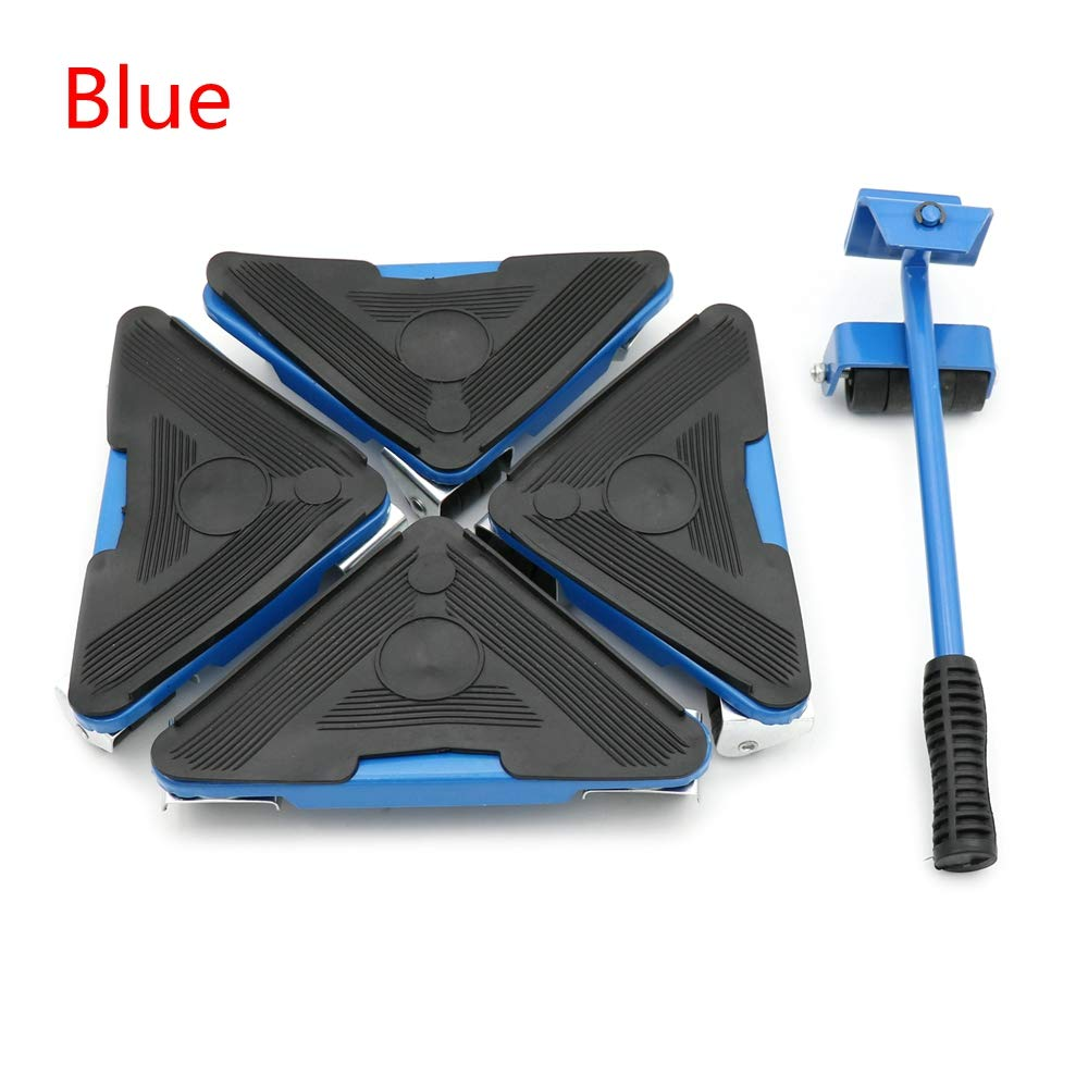 Heavy Furniture Lifter Mover Triangle Wheels Sliders Table Sofa Home Appliance (Blue)