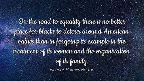Eleanor Holmes Norton - Famous Quotes Laminated Poster Print 24x20 - On The Road to Equality There is no Better Place for Blacks to Detour Around American Values Than in forgoing its Example in The t