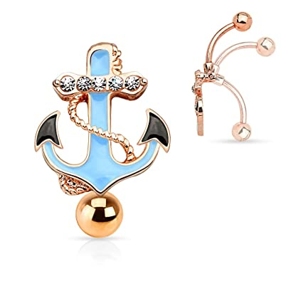 Gemmed Anchor Top Down Non Dangle Belly Button Ring 316l Surgical Steel 14g Reverse Navel Ring Rose Gold Tone