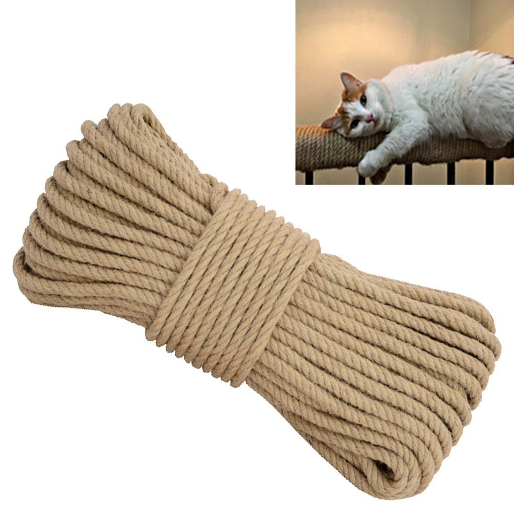 Aoneky Replacement Cat Scratching Post Sisal Rope - Hemp Rope for Cat Tree and Tower (6 mm x 98 Ft)