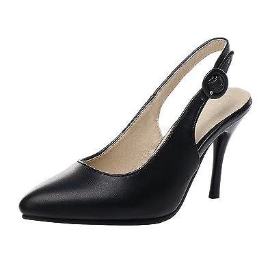 YE Damen Slingback Ankle Strap Pumps Stiletto Spitze High Heels mit Riemchen Elegant Schuhe