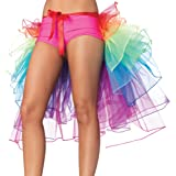 NHSUNRAY Women Girls Dancing Tutu Skirt Layered Organza Lace Rainbow Bustle Skirt Ruffle Tiered Clubwear,Multi-Color One…