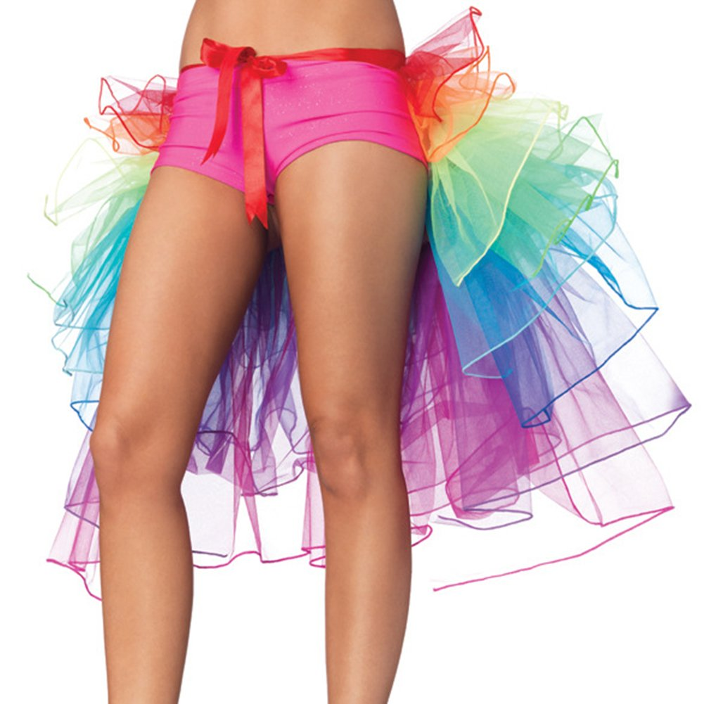 NHSUNRAY Women Girls Dancing Tutu Skirt Layered Organza Lace Rainbow Bustle Skirt Ruffle Tiered Clubwear,Multi-Color One Size with Adjustable Ribbon Tie