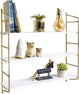 BOLUO White Floating Shelves 24 Inch 3 Tier Gold Wall Shelf for Bedroom Hanging Shelving Mounted Bathroom Shelfs Modern
