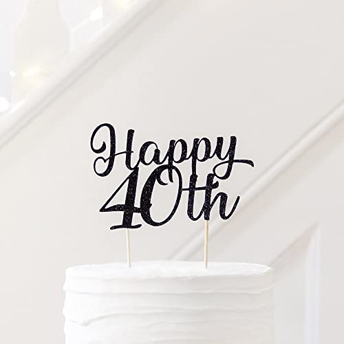 Happy 40th Personalised Cake Topper Birthday Decoration Party Custom Age New Font Amazoncouk Handmade