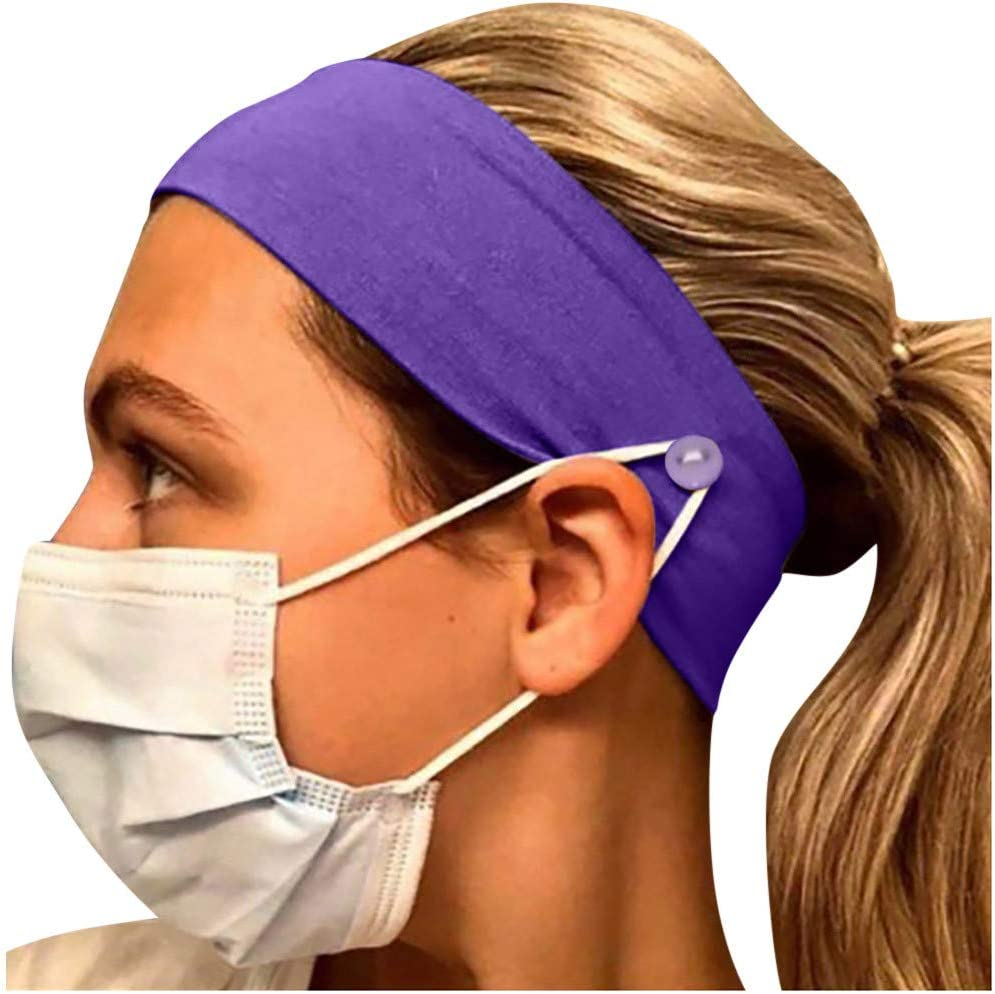 Soft Premium Sweat Band Moisture Wicking 5PCS, Navy Protect Your Ears Button Headband for Nurses Women Men Yoga Sports Workout Turban Heawrap for Doctors and Everyone