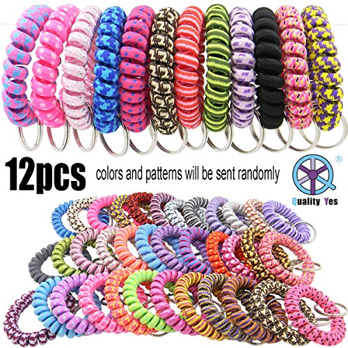 QY 12PCS New Version Bright Colorful Patterns Cloth Plastic Spiral Coil Wrist Band Key Ring Chain