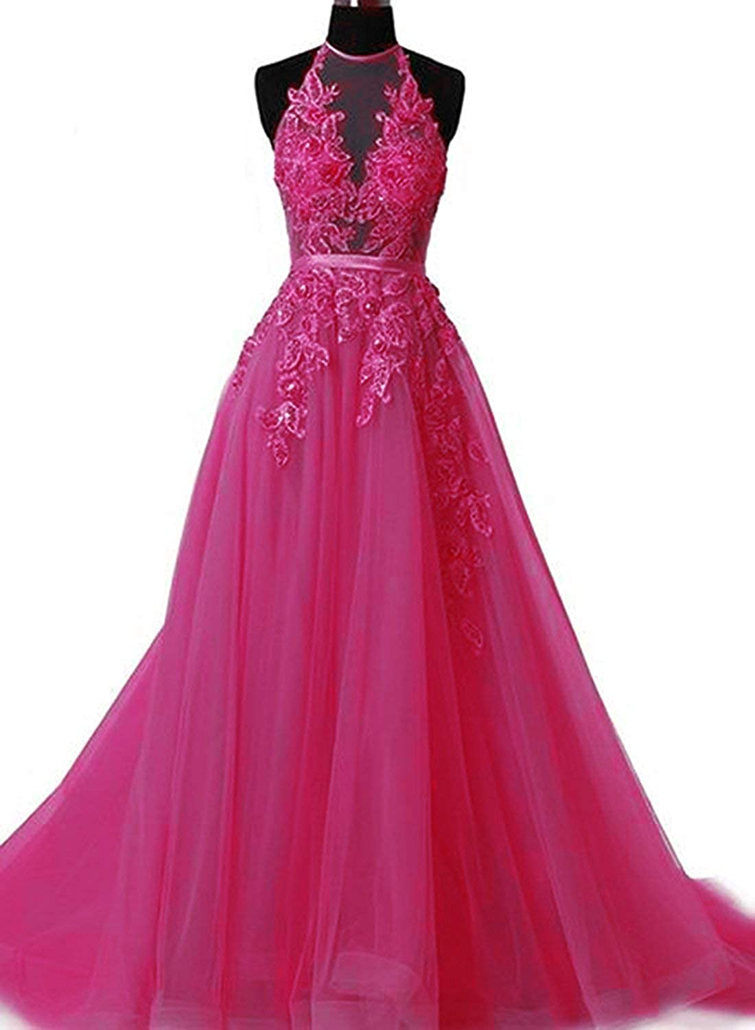 Hot Pink XKYU Women's Lace Appliques Halter Prom Dresses Backless Formal Evening Party Gowns