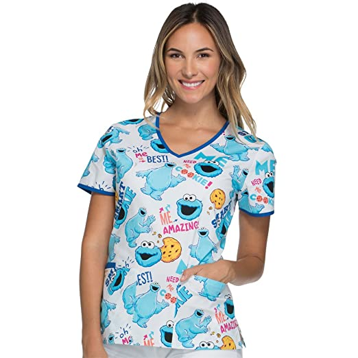 031d23bae98 Cherokee Tooniforms Women's V-Neck Cookie Monster Print Scrub Top Small  Print
