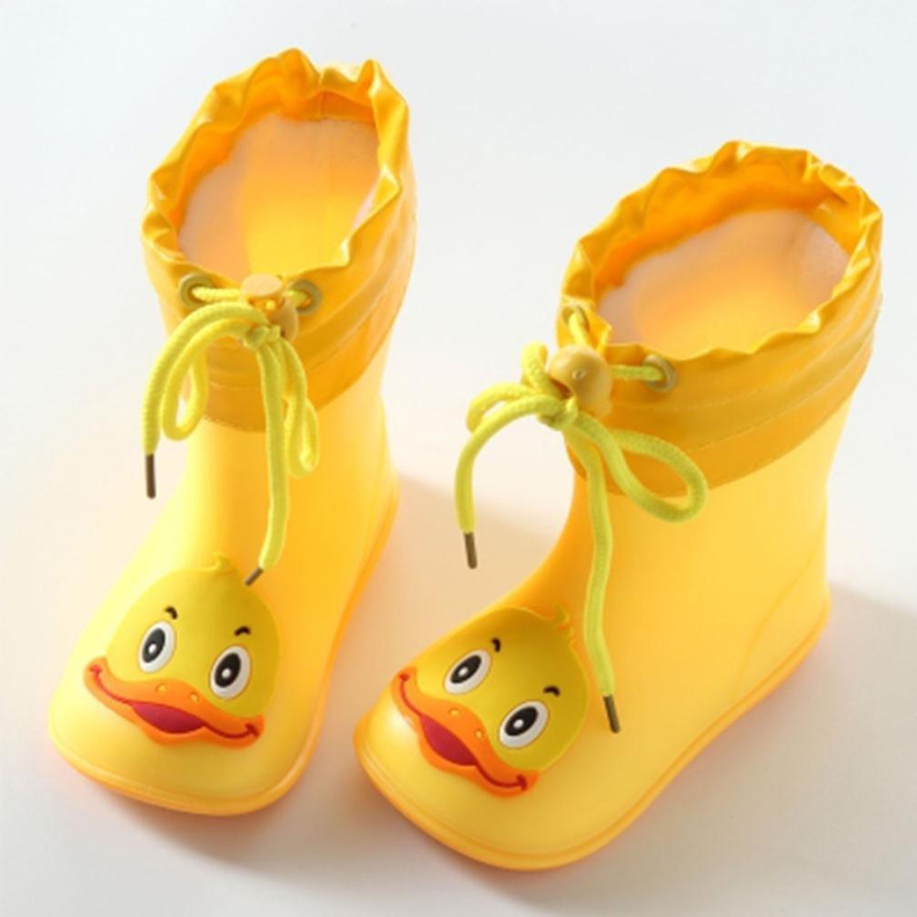 Suma-ma Infant Kids Children Baby Cartoon Rubber Waterproof Warm Boots Rain Shoes (Yellow, US:6.5)