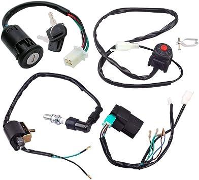 for Kick Start Dirt Pit Bike ATV 50CC 70CC 90CC 110CC 125CC Buggy Go Kart Wire Harness Wiring Loom Harness Kill Switch Ignition Coil Cdi Box Spark Plug Rebuild Kit