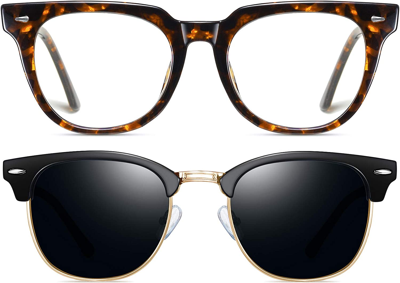 Joopin Glasses, Unisex Black Polarized Semi Rimless Sunglasses & Leopard Top Flat Blue Light Blocking Glasses