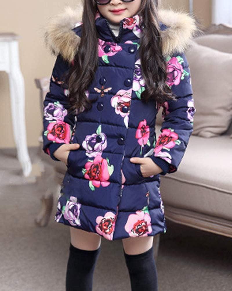 AnyuA Enfant Fille Slim Fit Bouton Rembourr/é Epaisse Chaud Manches Longues Manteau /À Capuche Fausse Fourrure