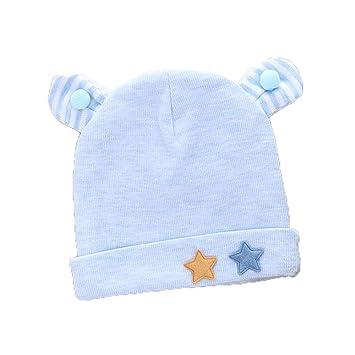 HENLOOO Sombrero de bebé de Dibujos Animados, Doble Capa de Abrigo de Punto cálido Sombrero, Gorro de bebé,lightbluefivestar: Amazon.es: Hogar
