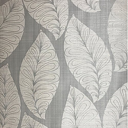 Oriental Floral Wallpaper (76 sq.ft Made in Italy Portofino wallcoverings textured platinum rolls modern embossed Vinyl Non-Woven Wallpaper grey silver gray metallic floral large tree leaves faux fabric cloth imitation pattern)