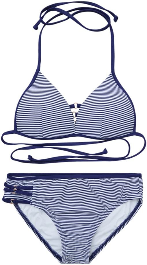 Traje de Bikini para Mujer, arnés Triangular, Rayas Azules y ...